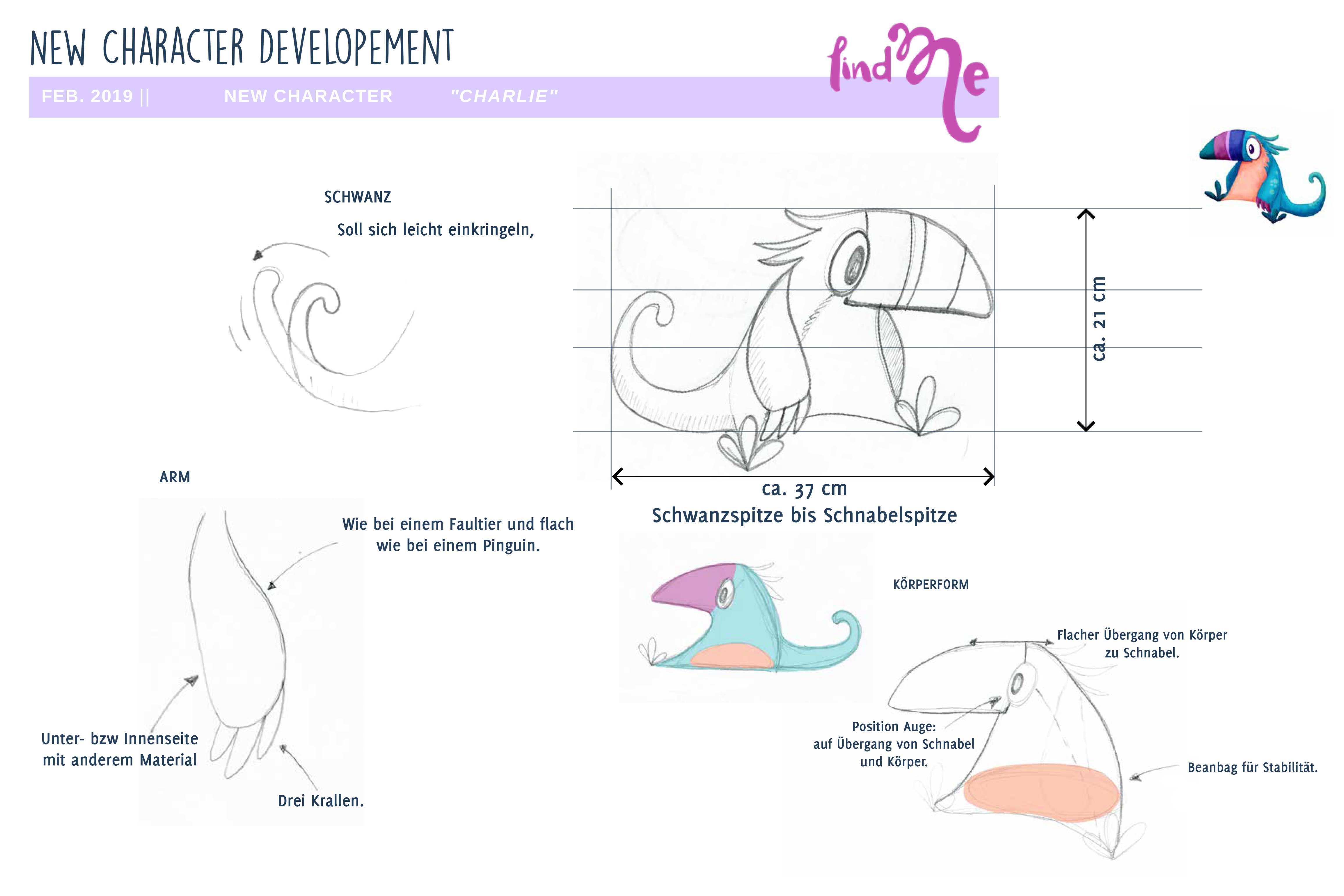 Artworks für Kuscheltier Charlie. Maße, Farben und Zeichnungen von Details.