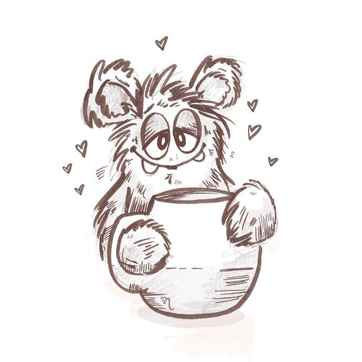 Zeichenvorlage von find Me - Tobi mit Lieblingstasse
