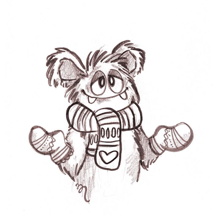 Zeichenvorlage von find Me - Tobi mit Schal und Handschuhen